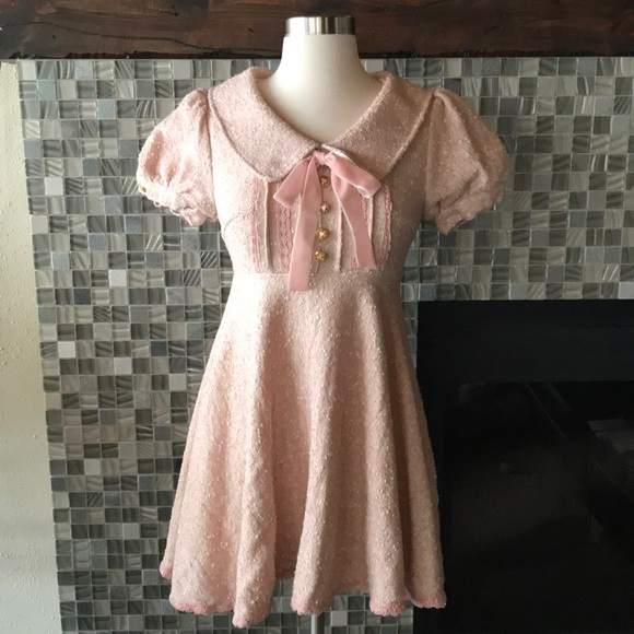 dd10cb8e9e5 liz lisa Dresses   Skirts - Liz Lisa babydoll Collar tweed mini dress XS